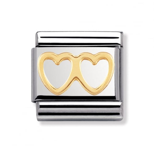Stainless Steel and 18ct Gold Double Heart Link