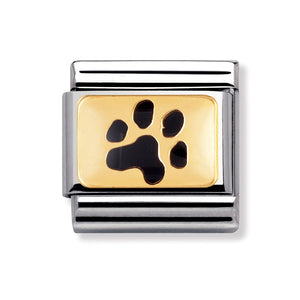 Stainless Steel and 18ct Gold Paw Print Link
