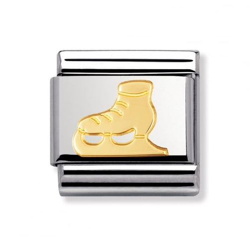 Stainless Steel and 18ct Gold Ice Skate Link
