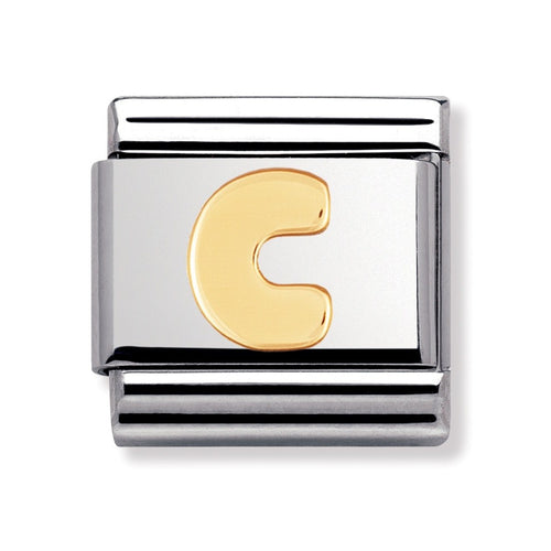 Stainless Steel and 18ct Gold Letter C Link