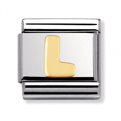 Stainless Steel and 18ct Gold Letter L Link