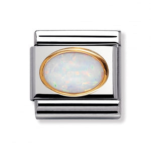 Stainless Steel and 18ct Gold White Opal Link
