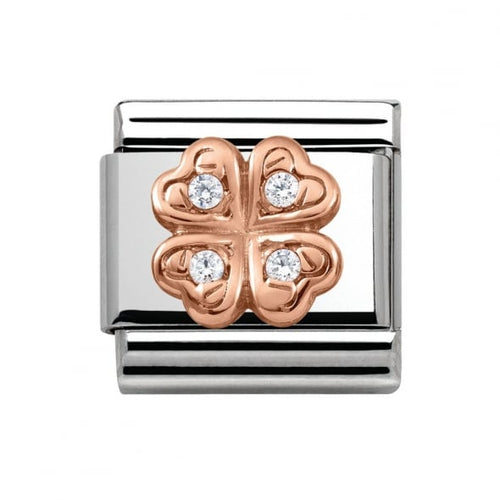 Stainless Steel and 9ct Rose Gold Four Leaf Clover with Cubic Zirconia Link