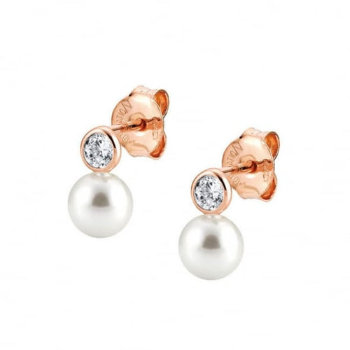 Rose Gold Plated Bella Pearl and Cubic Zirconia Earrings