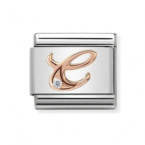 Stainless Steel with Cubic Zirconia and 9ct Rose Gold Cursive Letter C Link