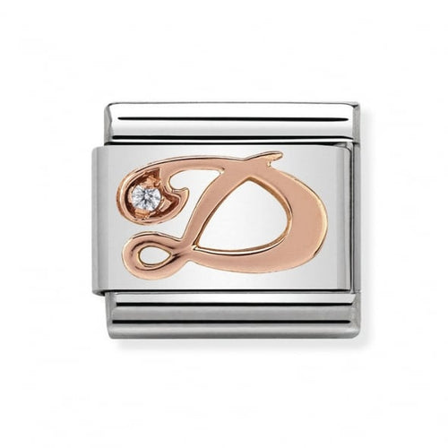Stainless Steel with Cubic Zirconia and 9ct Rose Gold Cursive Letter D Link