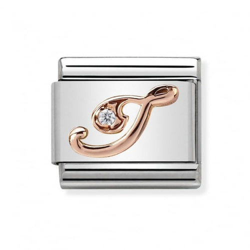 Stainless Steel with Cubic Zirconia and 9ct Rose Gold Cursive Letter I Link