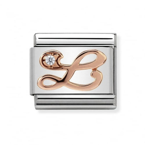 Stainless Steel with Cubic Zirconia and 9ct Rose Gold Cursive Letter L Link