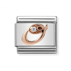 Stainless Steel with Cubic Zirconia and 9ct Rose Gold Cursive Letter O Link