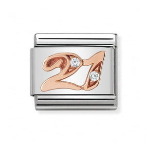 Stainless Steel and 9ct Rose Gold Number 21 Link