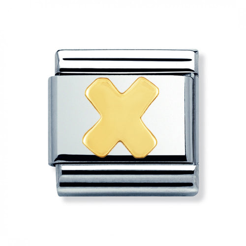Stainless Steel and 18ct Gold Letter X Link