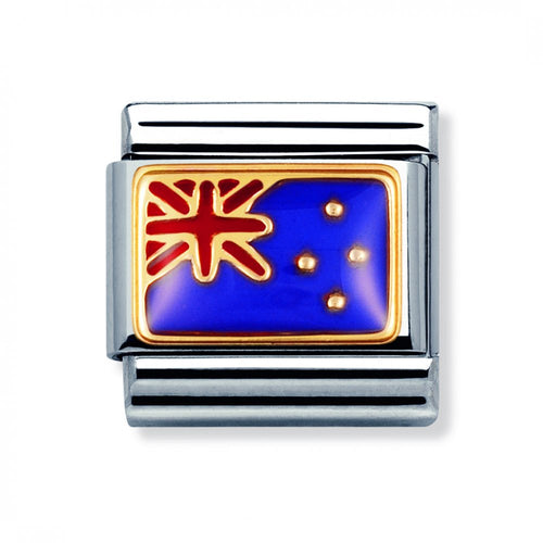 Stainless Steel Enamel 18ct Gold New Zealand Flag Link