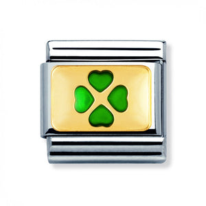 Stainless Steel and 18ct Gold Green Clover Link