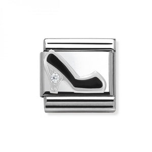 Stainless Steel and Silver Black Shoe with Cubic Zirconia Link