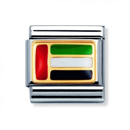 Stainless Steel Enamel 18ct Gold UAE Flag Link