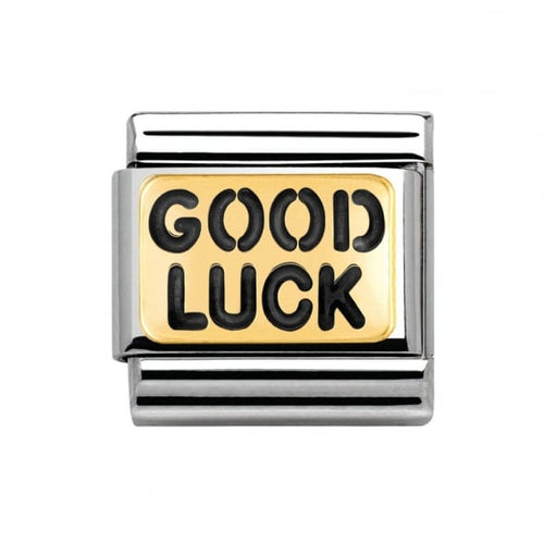Stainless Steel Enamel and 18ct Gold Good Luck Link