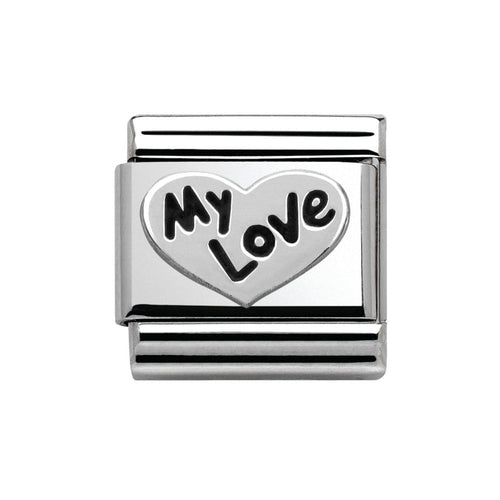 Stainless Steel and Silver Heart My Love Link
