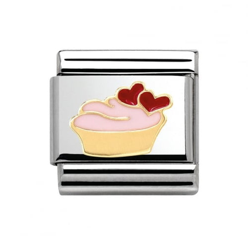 Stainless Steel Enamel and 18ct Gold Muffin with Hearts Link