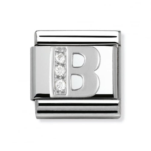 Stainless Steel and Silver Letter B Link