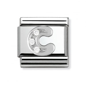 Stainless Steel and Silver Letter C Link