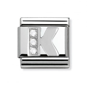 Stainless Steel and Silver Letter K Link