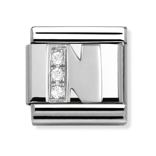 Stainless Steel and Silver Letter N Link