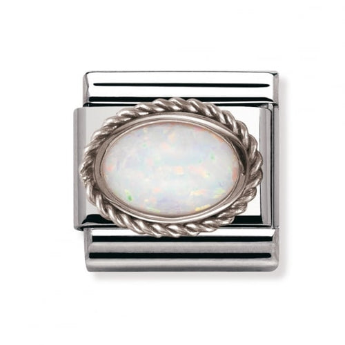 Stainless Steel and Silver White Opal Link