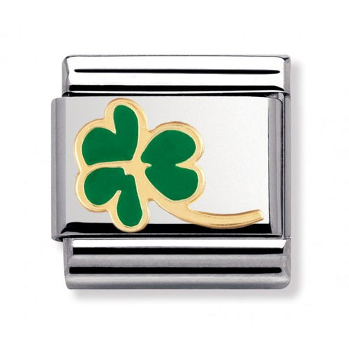 Stainless Steel Enamel and 18ct Gold Clover Link