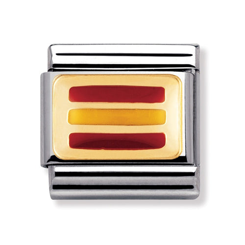 Stainless Steel Enamel 18ct Gold Spain Flag Link