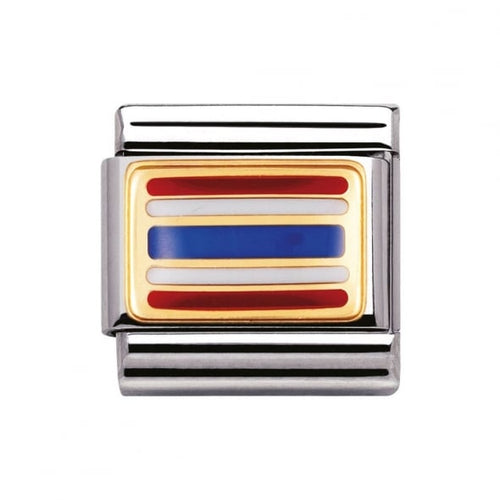 Stainless Steel Enamel 18ct Gold Thailand Flag Link