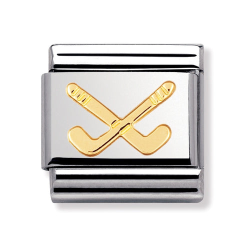 Stainless Steel and 18ct Gold Hockey Sticks Link