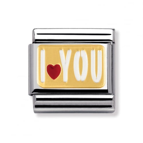 Stainless Steel Enamel and 18ct Gold 'I Love You' Link