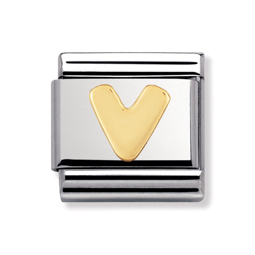 Stainless Steel and 18ct Gold Letter V Link