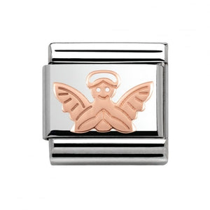 Stainless Steel and 9ct Rose Gold Angel Link