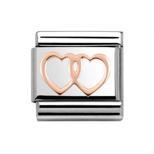 Stainless Steel and 9ct Rose Gold Double Hearts Link