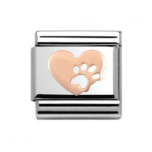 Stainless Steel and 9ct Rose Gold Heart with Footprints Link