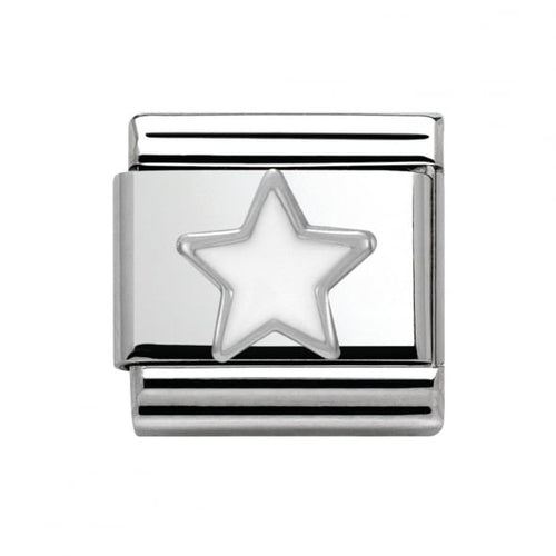 Stainless Steel and Silver White Star Link