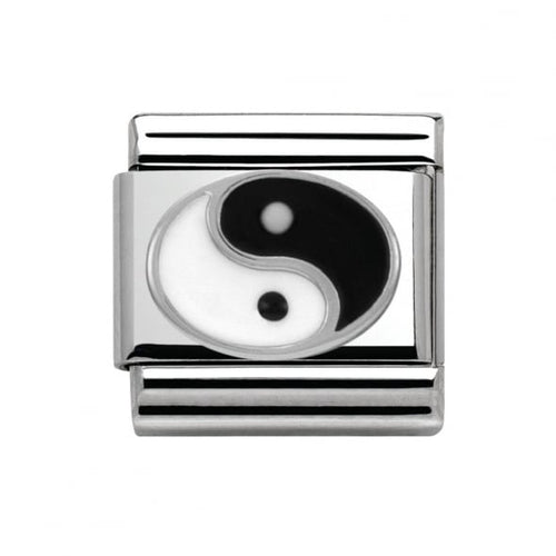 Stainless Steel and Silver Yin Yang Link