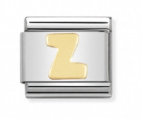 Stainless Steel and 18ct Gold Letter Z Link