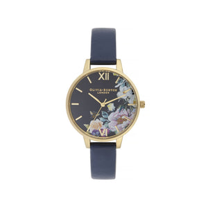 Navy & Gold Enchanted Garden Demi Dial Watch