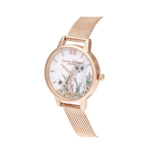 Animals Cat Rose Gold Mesh Watch