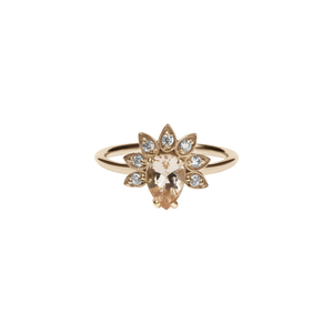 9ct Rose Gold Morganite Diamond Petal Ring