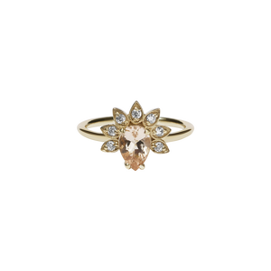 9ct Yellow Gold Morganite Diamond Petal Ring