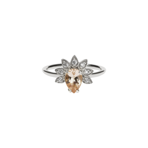 Silver Morganite Diamond Petal Ring