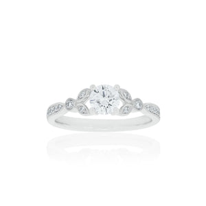 18ct White Gold Florine Diamond Ring 1D=.50ct