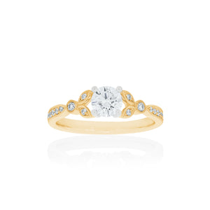 18ct Yellow Gold Florine Diamond Ring 1D=.50ct
