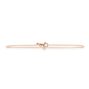 9ct Rose Gold Droplet Diamond Bracelet