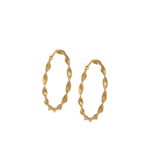 Gold Plated Rope Detail Hoop