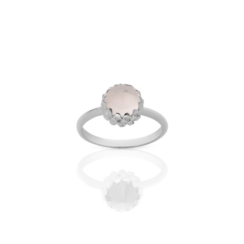 Meadowlark Silver Mini Protea Rose Quartz Ring