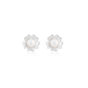 Silver Agatha Pearl Stud Earrings